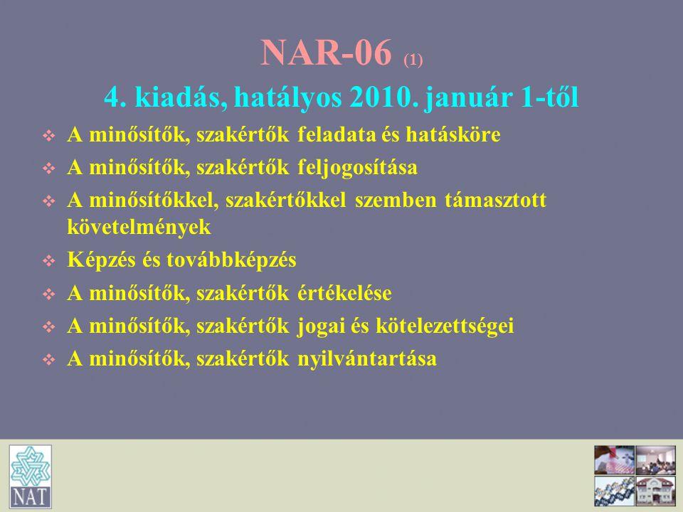 NAR-06 (2) Vezető minősítő hatásköre   részvétel az eljárások értékelési szakaszában,   együttműködés az akkreditáló mérnökkel az értékelésre felkészülés során,   az értékelő csoport tevékenységének koordinálása,   az újonnan kijelölt minősítő tevékenységének ellenőrzése,   az eljárásban a nem-megfelelőség feltárása, azok kiküszöbölésére tett helyesbítő intézkedések és azok hatékonyságának ellenőrzése,   az eljárásban az előírt írásos jelentések elkészítése,   az eljárásban javaslattétel az akkreditált státusz odaítélésére és fenntartására, illetve részleges vagy teljes körű felfüggesztésére vagy visszavonására,   részvétel a minősítők és szakértők értékelésében.