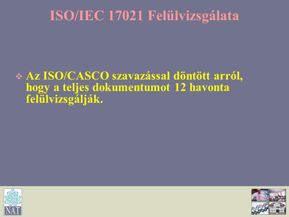 ISO/IEC 17021 Felülvizsgálata   Az ISO/CASCO szavazással döntött arról, hogy a teljes dokumentumot 12 havonta felülvizsgálják.
