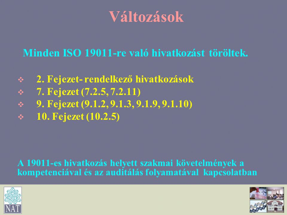 Változások Minden ISO 19011-re való hivatkozást töröltek.   2. Fejezet- rendelkező hivatkozások   7. Fejezet (7.2.5, 7.2.11)   9. Fejezet (9.1.2