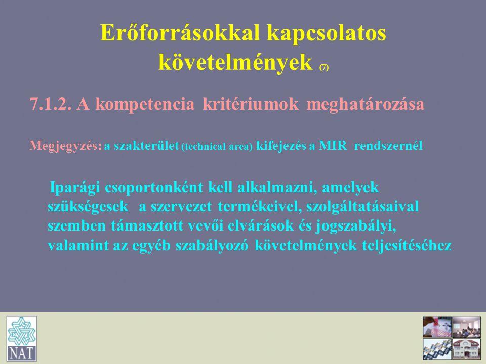 Erőforrásokkal kapcsolatos követelmények (7) 7.1.2. A kompetencia kritériumok meghatározása Megjegyzés: a szakterület (technical area) kifejezés a MIR