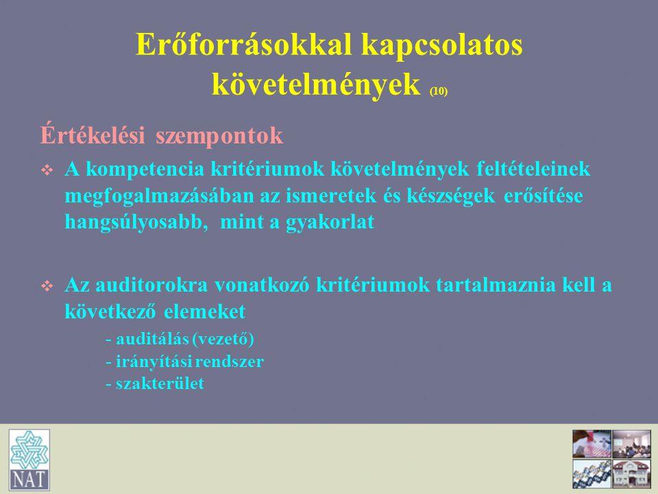 Erőforrásokkal kapcsolatos követelmények (10) Értékelési szempontok   A kompetencia kritériumok követelmények feltételeinek megfogalmazásában az ism