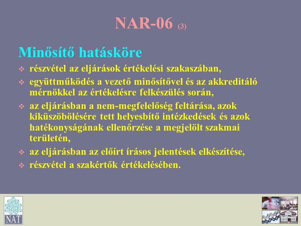 NAR-06 (4) Szakértő hatásköre   részvétel az eljárások értékelési szakaszában,   együttműködés a vezető minősítővel és az akkreditáló mérnökkel az értékelésre felkészülés során,   az eljárásban a nem-megfelelőség feltárása, azok kiküszöbölésének tett helyesbítő intézkedések és azok hatékonyságának ellenőrzése a megjelölt szakmai területén,   az eljárásban az előírt írásos jelentések elkészítése.
