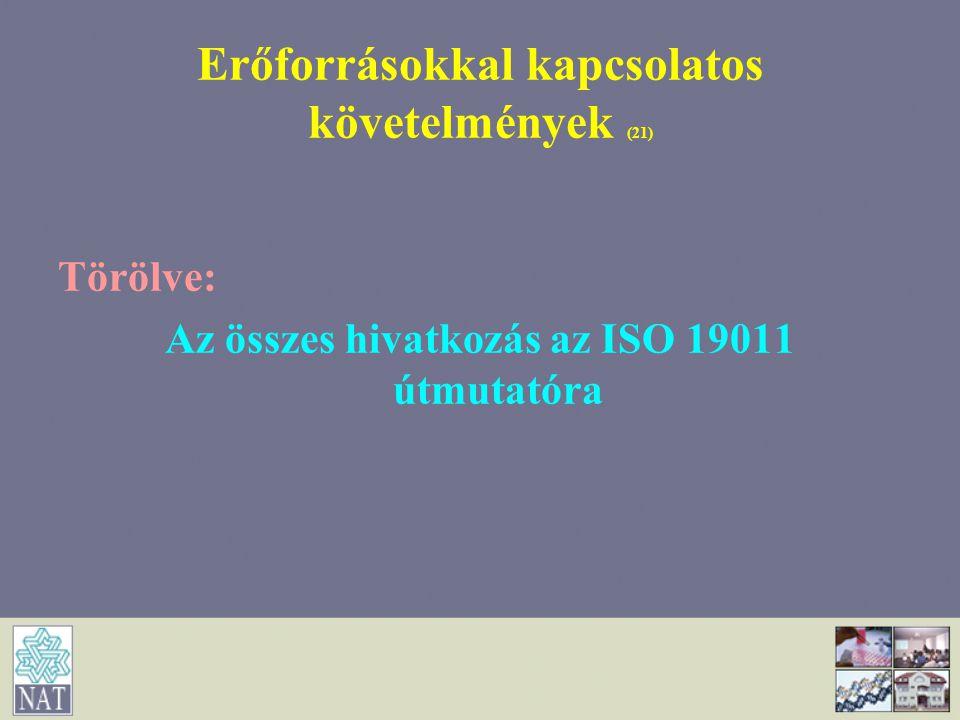 Erőforrásokkal kapcsolatos követelmények (21) Törölve: Az összes hivatkozás az ISO 19011 útmutatóra