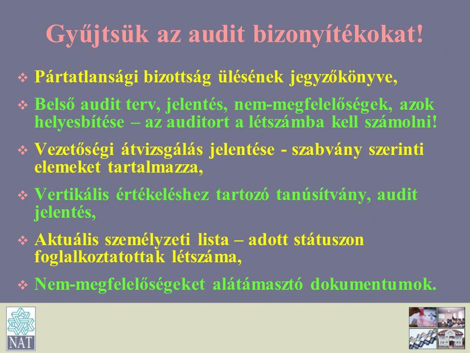 Gyűjtsük az audit bizonyítékokat!   Pártatlansági bizottság ülésének jegyzőkönyve,   Belső audit terv, jelentés, nem-megfelelőségek, azok helyesbí