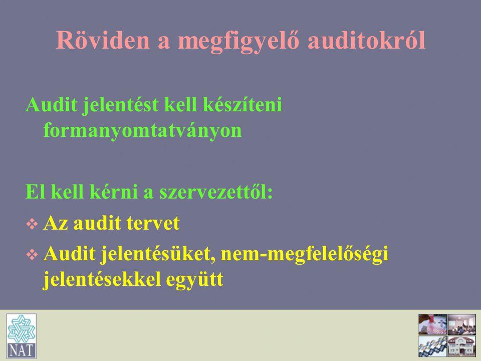 Röviden a megfigyelő auditokról Audit jelentést kell készíteni formanyomtatványon El kell kérni a szervezettől:   Az audit tervet   Audit jelentés