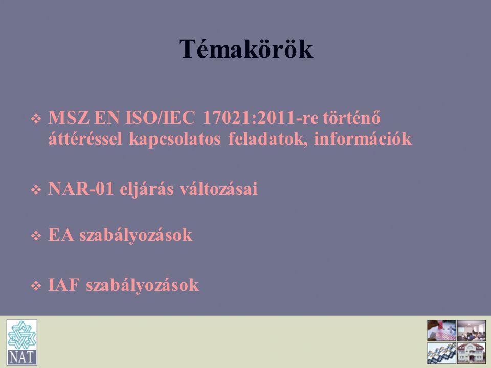 Témakörök   MSZ EN ISO/IEC 17021:2011-re történő áttéréssel kapcsolatos feladatok, információk   NAR-01 eljárás változásai   EA szabályozások 