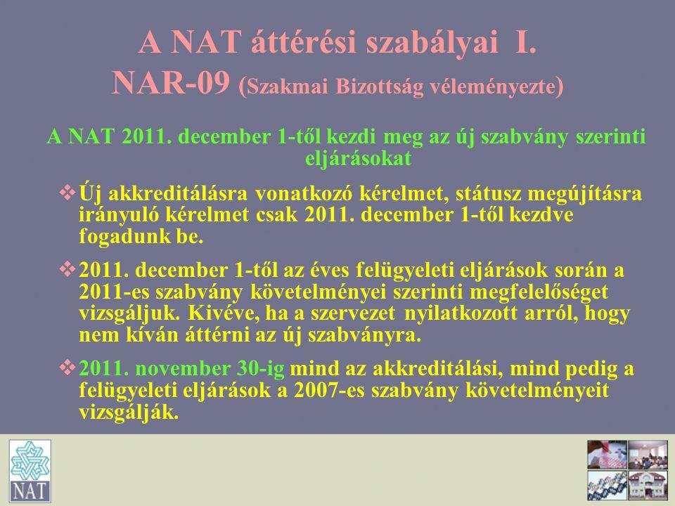 A NAT áttérési szabályai I. NAR-09 ( Szakmai Bizottság véleményezte ) A NAT 2011. december 1-től kezdi meg az új szabvány szerinti eljárásokat   Új