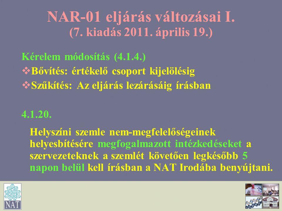 NAR-01 eljárás változásai I. (7. kiadás 2011. április 19.) Kérelem módosítás (4.1.4.)   Bővítés: értékelő csoport kijelölésig   Szűkítés: Az eljár