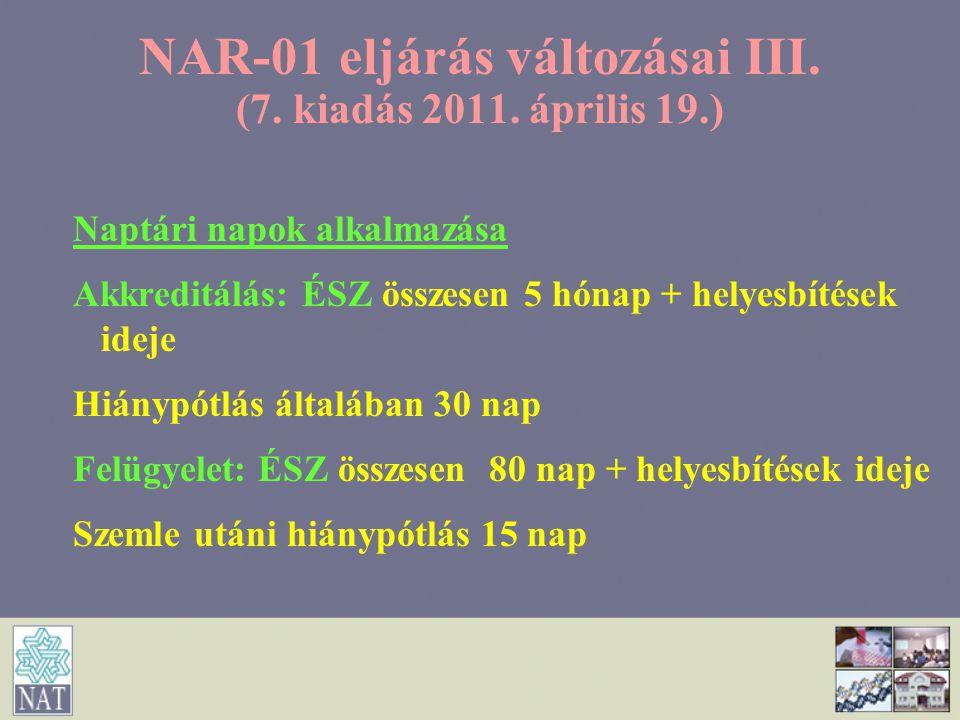 NAR-01 eljárás változásai III. (7. kiadás 2011. április 19.) Naptári napok alkalmazása Akkreditálás: ÉSZ összesen 5 hónap + helyesbítések ideje Hiányp