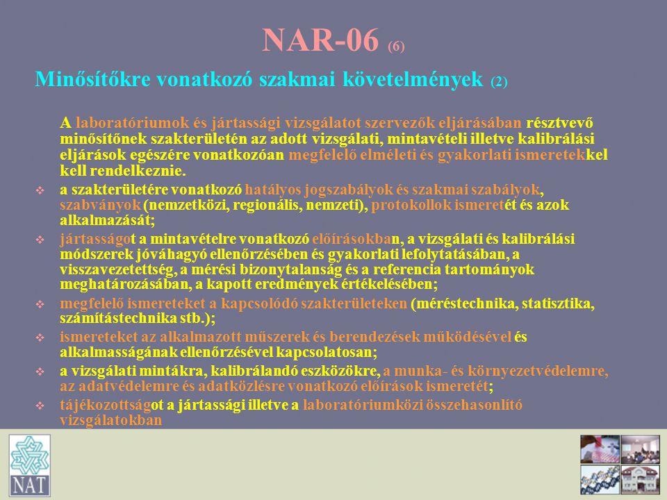 NAR-06 (7) Minősítőkre vonatkozó szakmai követelmények (3) Ellenőrzési tevékenységben való jártasság   Az ellenőrző szervezetek- elméleti és gyakorlati ismeretek az ellenőrzési módszerekben és a kapcsolódó vizsgálati illetve kalibrálási tevékenységekben.