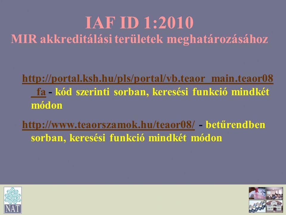 IAF ID 1:2010 MIR akkreditálási területek meghatározásához http://portal.ksh.hu/pls/portal/vb.teaor_main.teaor08 _fahttp://portal.ksh.hu/pls/portal/vb