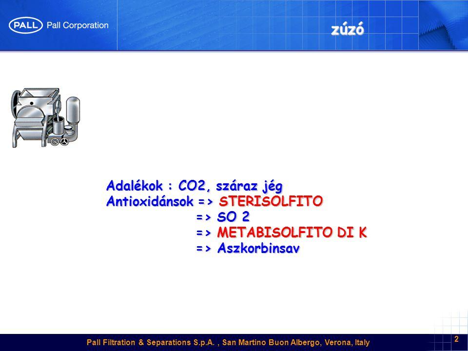 Pall Filtration & Separations S.p.A., San Martino Buon Albergo, Verona, Italy 3 Vízszintes PRÉS Adalékok :CO2, száraz jég Antioxidánsok => ECOBIOL BLANC => Aszkorbinsav => Aszkorbinsav => GALLOTAN => GALLOTAN enzimek => ZIMOPEC PML,Vinozym FCE enzimek => ZIMOPEC PML,Vinozym FCE a színmust : enzimek => ZIMOPEC P110L => ZIMOPEC P120 => ZIMOPEC P120 = > Novoclair speed = > Novoclair speed fehérborok