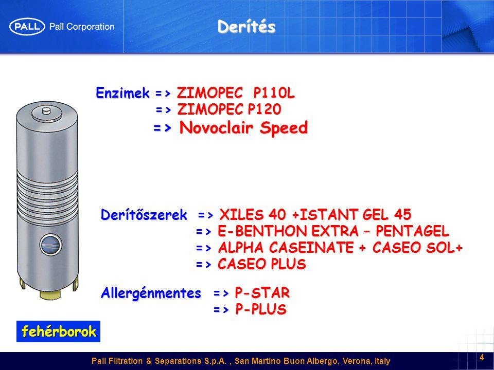 Pall Filtration & Separations S.p.A., San Martino Buon Albergo, Verona, Italy 4 Derítés Enzimek => ZIMOPEC P110L => ZIMOPEC P120 => ZIMOPEC P120 => No