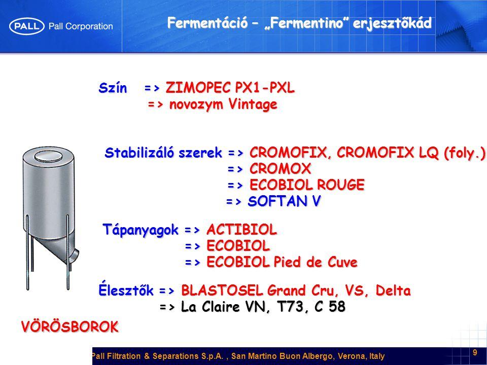 Pall Filtration & Separations S.p.A., San Martino Buon Albergo, Verona, Italy 10 MELEG (borkészítési) ELJÁRÁS VÖRÖSBOROK ENZIMEK => ZIMOPEC PML => ZIMOPEC PXL 09 => ZIMOPEC PXL 09