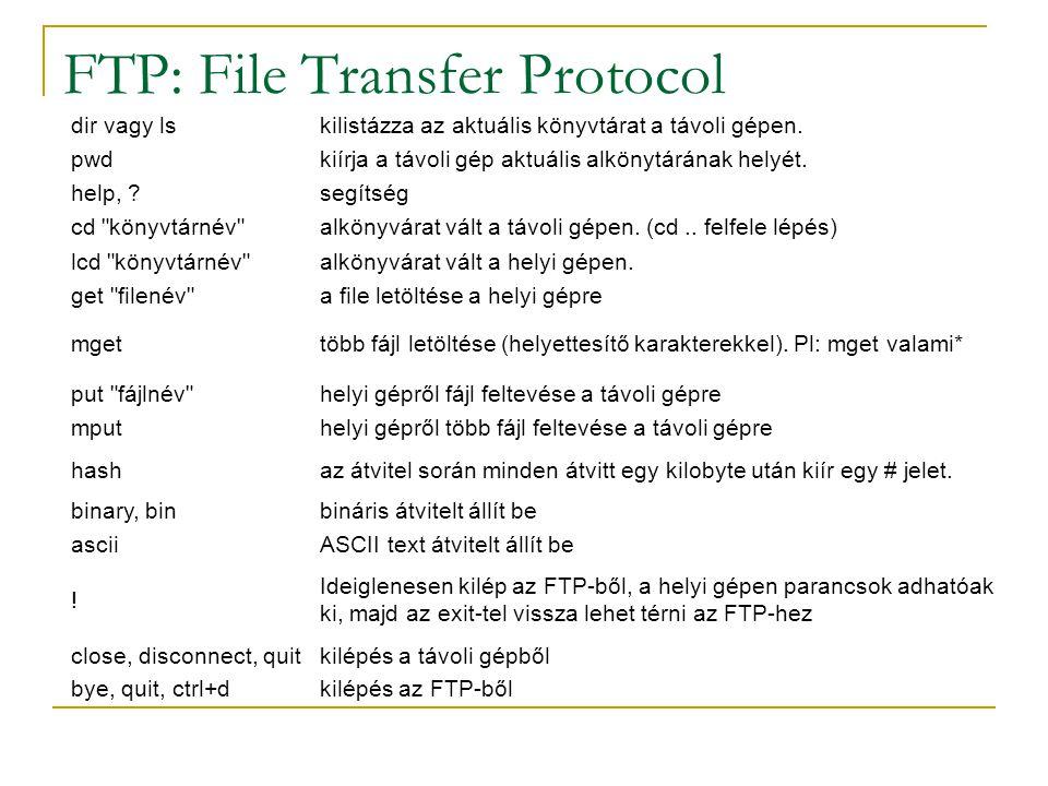 FTP: File Transfer Protocol dir vagy lskilistázza az aktuális könyvtárat a távoli gépen. pwdkiírja a távoli gép aktuális alkönytárának helyét. help, ?