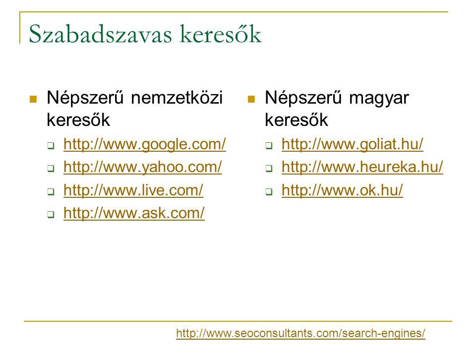 Szabadszavas keresők Népszerű nemzetközi keresők  http://www.google.com/ http://www.google.com/  http://www.yahoo.com/ http://www.yahoo.com/  http:
