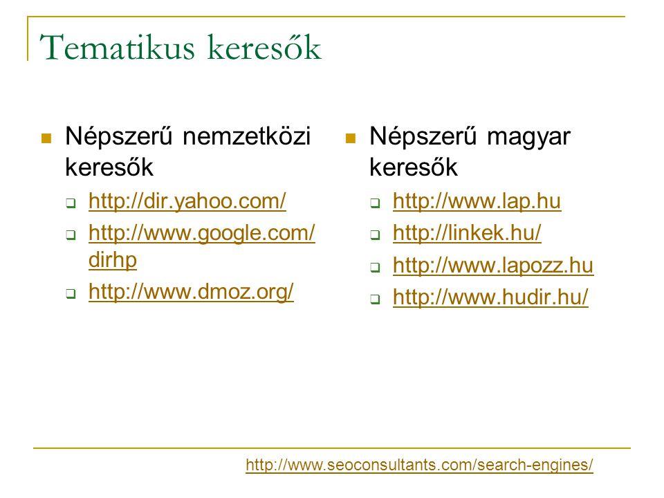 Tematikus keresők Népszerű nemzetközi keresők  http://dir.yahoo.com/ http://dir.yahoo.com/  http://www.google.com/ dirhp http://www.google.com/ dirh