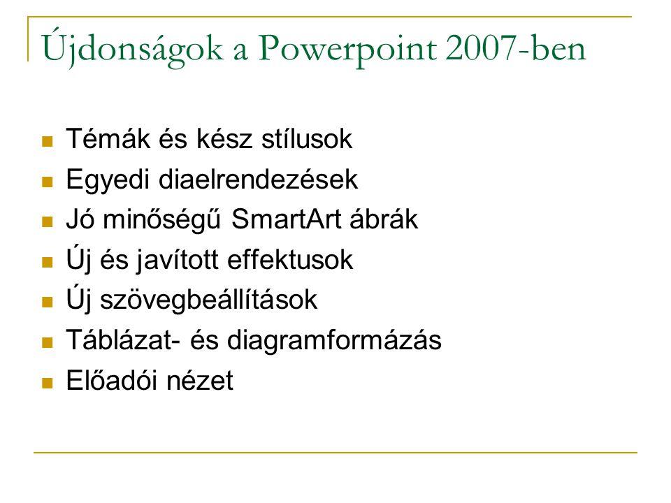 Újdonságok a Powerpoint 2007-ben Témák és kész stílusok Egyedi diaelrendezések Jó minőségű SmartArt ábrák Új és javított effektusok Új szövegbeállítás