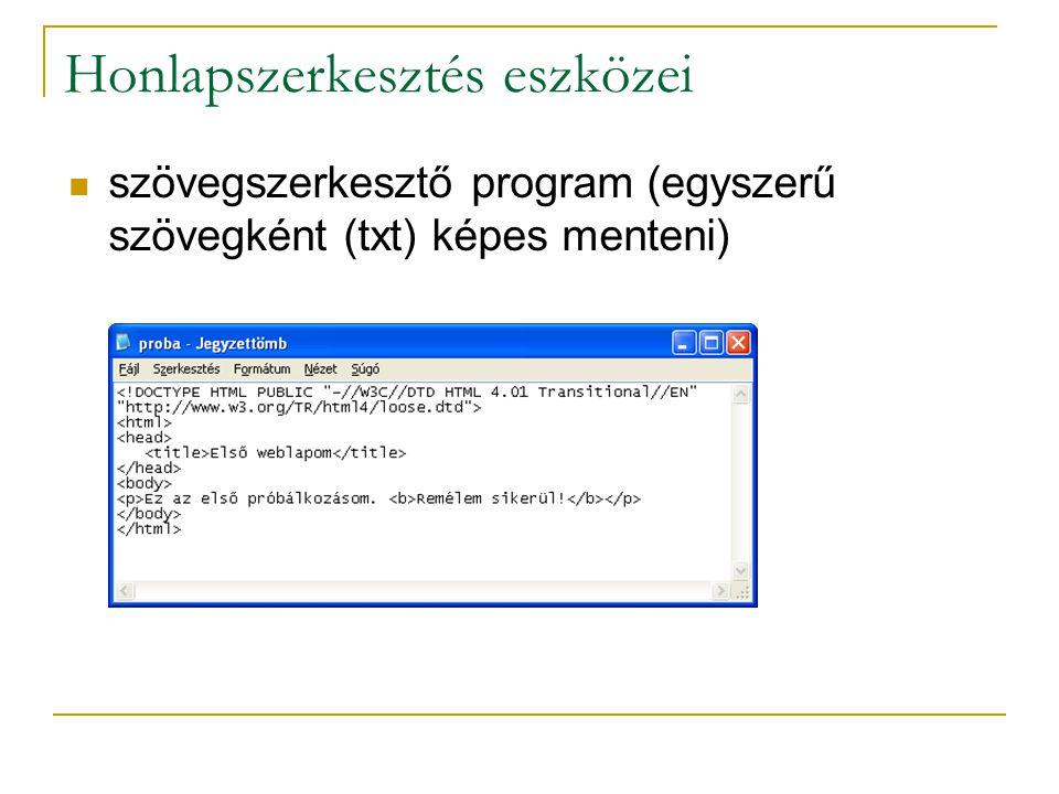 Honlapszerkesztés eszközei szövegszerkesztő program (egyszerű szövegként (txt) képes menteni)