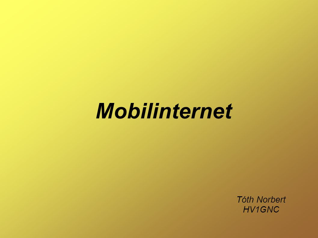 Mobilinternet Tóth Norbert HV1GNC