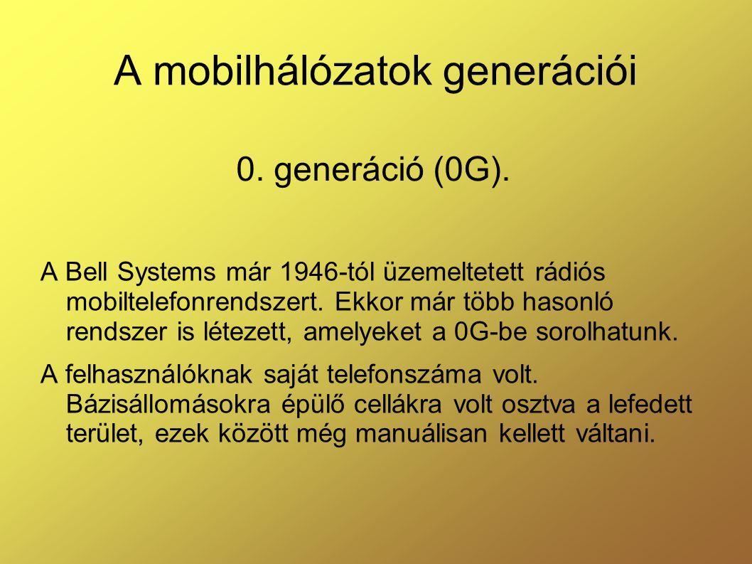 A mobilhálózatok generációi A Bell Systems már 1946-tól üzemeltetett rádiós mobiltelefonrendszert.