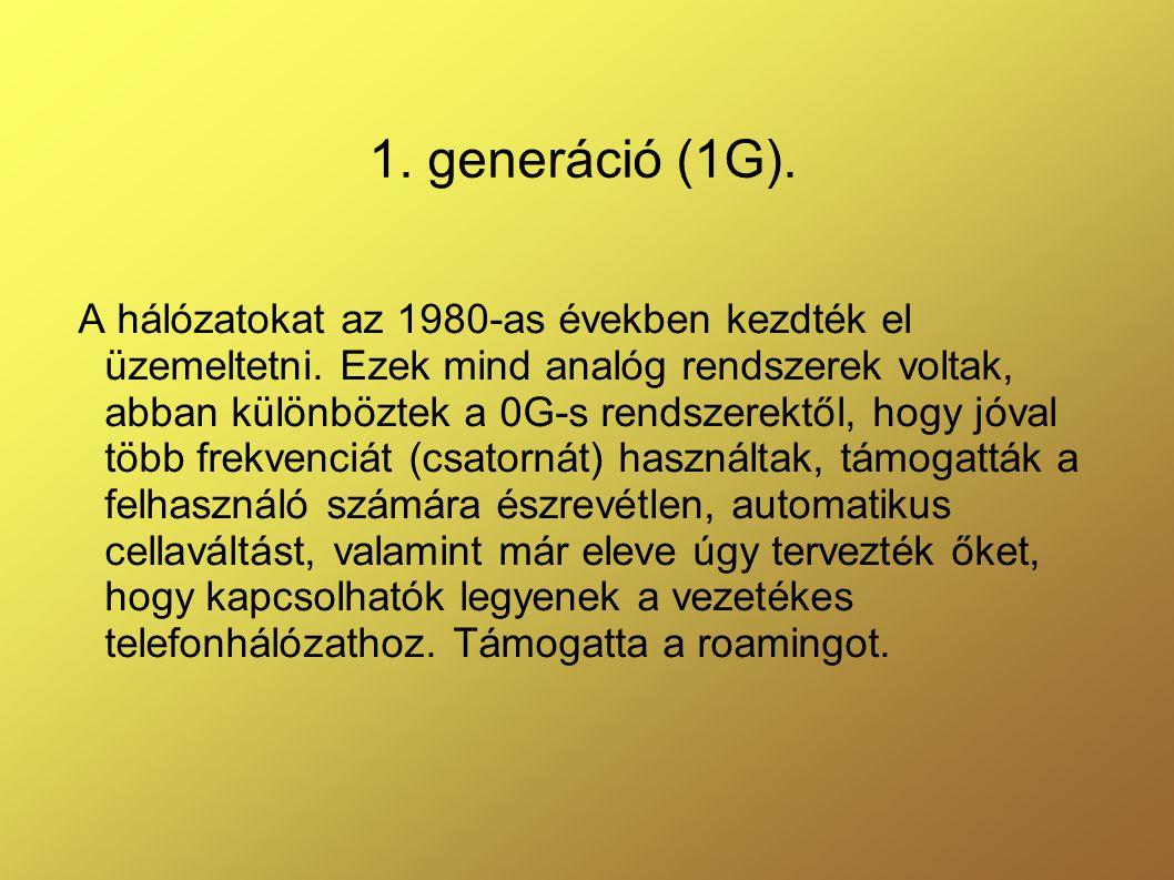 1.generáció (1G). A hálózatokat az 1980-as években kezdték el üzemeltetni.