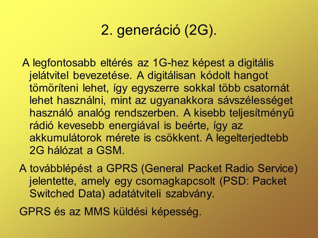 2.generáció (2G). A legfontosabb eltérés az 1G-hez képest a digitális jelátvitel bevezetése.