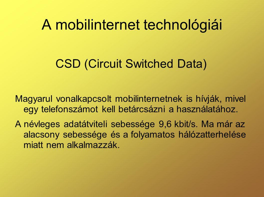 A mobilinternet technológiái Magyarul vonalkapcsolt mobilinternetnek is hívják, mivel egy telefonszámot kell betárcsázni a használatához.