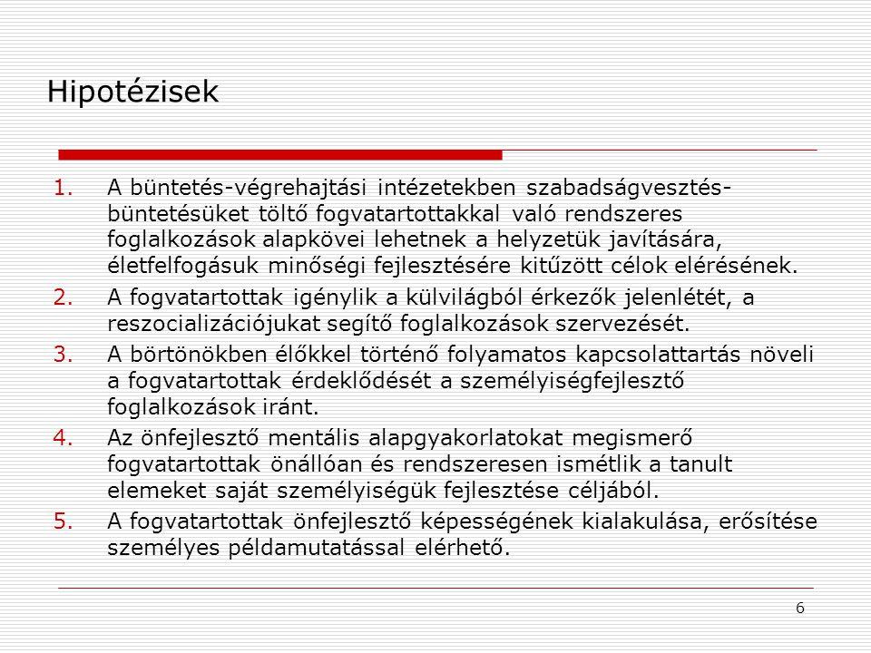 Módszertan  Balassagyarmati Fegyház és Börtön  Kontroll: börtönpszichológus  2013.