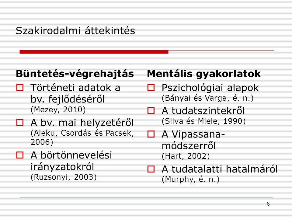 8 Szakirodalmi áttekintés Mentális gyakorlatok  Pszichológiai alapok (Bányai és Varga, é.