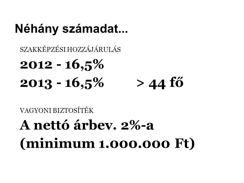 Néhány számadat... SZAKKÉPZÉSI HOZZÁJÁRULÁS 2012 - 16,5% 2013 - 16,5% > 44 fő VAGYONI BIZTOSÍTÉK A nettó árbev. 2%-a (minimum 1.000.000 Ft)