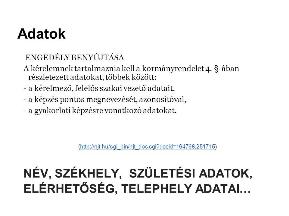 Díjak ENGEDÉLY BENYÚJTÁSA 3.