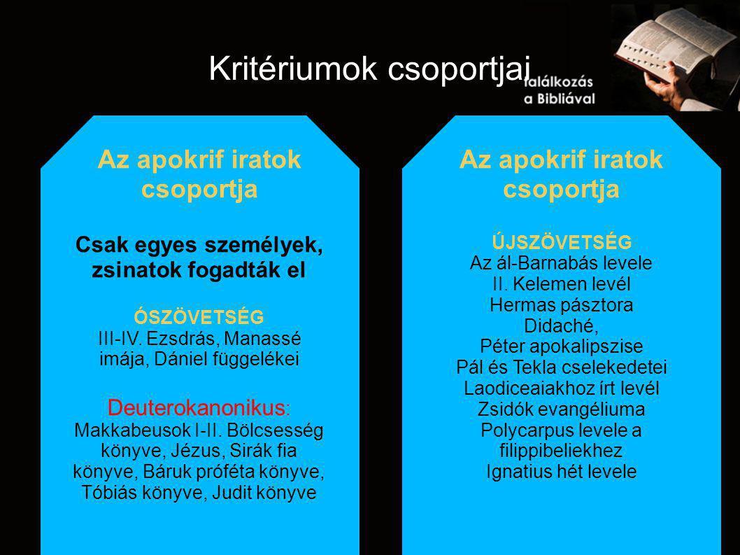 Kritériumok csoportjai Az apokrif iratok csoportja Csak egyes személyek, zsinatok fogadták el ÓSZÖVETSÉG III-IV.