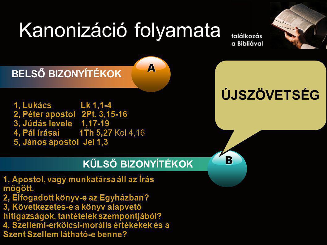 Kanonizáció folyamata A BELSŐ BIZONYÍTÉKOK B KŰLSŐ BIZONYÍTÉKOK ÚJSZÖVETSÉG 1, Lukács Lk 1,1-4 2, Péter apostol 2Pt. 3,15-16 3, Júdás levele 1,17-19 4