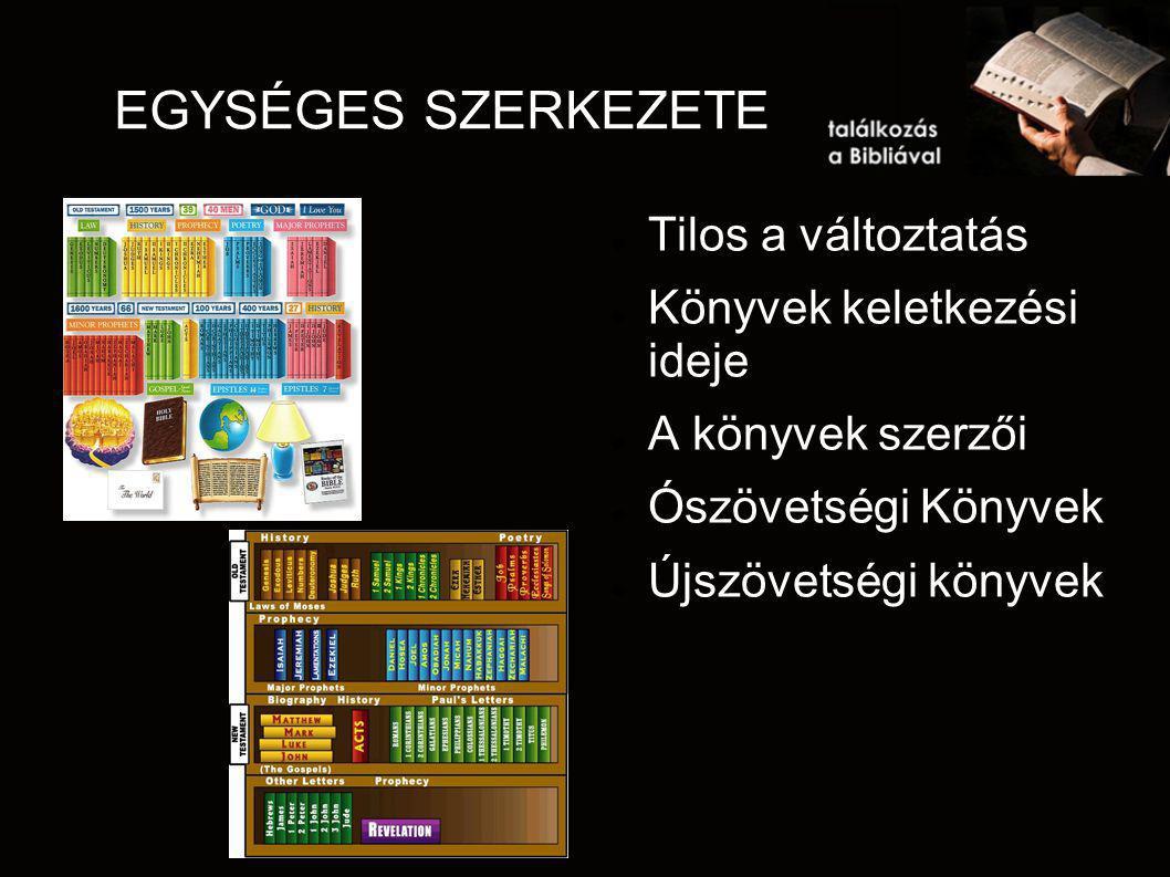 EGYSÉGES SZERKEZETE Tilos a változtatás Könyvek keletkezési ideje A könyvek szerzői Ószövetségi Könyvek Újszövetségi könyvek