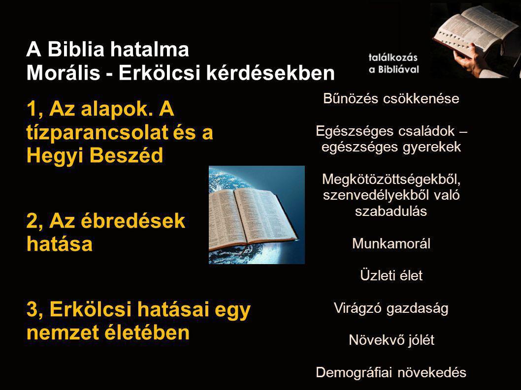 A Biblia hatalma Morális - Erkölcsi kérdésekben 1, Az alapok. A tízparancsolat és a Hegyi Beszéd 2, Az ébredések hatása 3, Erkölcsi hatásai egy nemzet