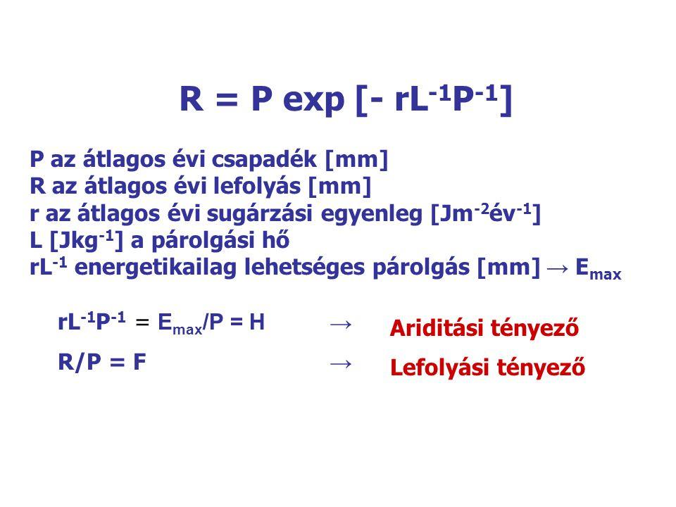 P az átlagos évi csapadék [mm] R az átlagos évi lefolyás [mm] r az átlagos évi sugárzási egyenleg [Jm -2 év -1 ] L [Jkg -1 ] a párolgási hő rL -1 ener