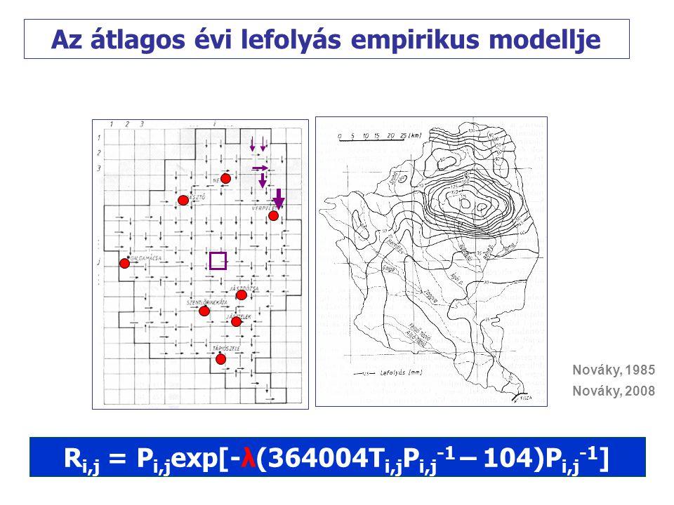 Rába vízgyűjtő rL -1 = m(T-T o ) n Balaton vízgyűjtő rL -1 = mT n rL -1 = P(lnP-lnR) R = P exp [- rL -1 P -1 ]