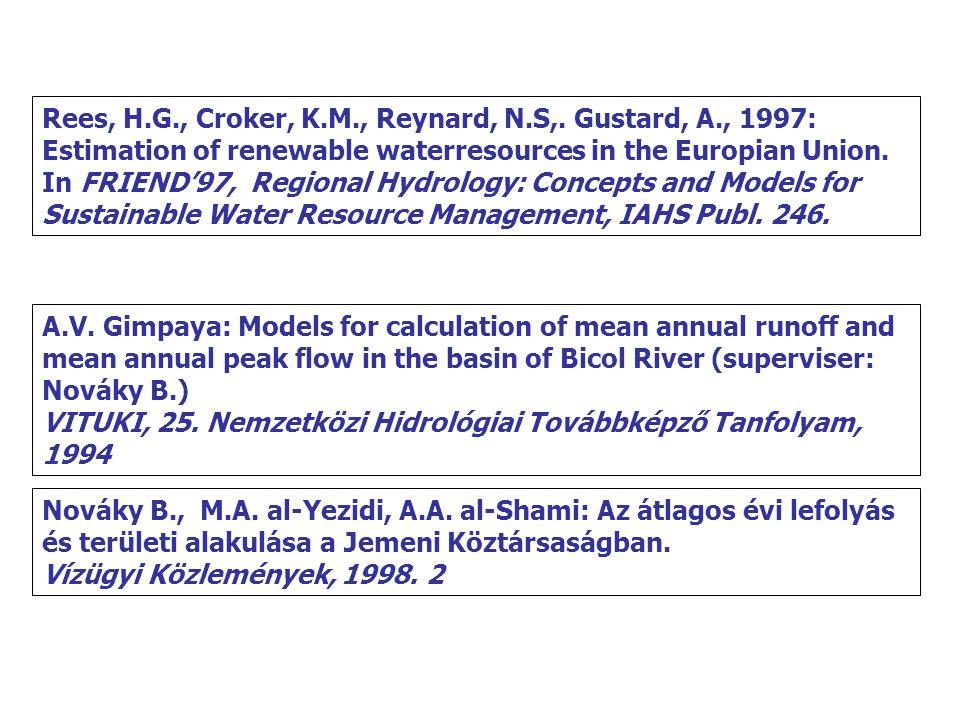 Rees, H.G., Croker, K.M., Reynard, N.S,. Gustard, A., 1997: Estimation of renewable waterresources in the Europian Union. In FRIEND'97, Regional Hydro