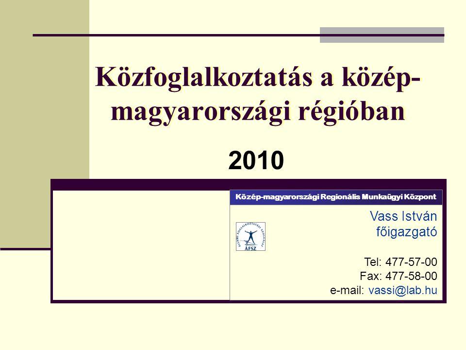 Közfoglalkoztatás a közép- magyarországi régióban 2010 Vass István főigazgató Tel: 477-57-00 Fax: 477-58-00 e-mail: vassi@lab.hu Közép-magyarországi Regionális Munkaügyi Központ