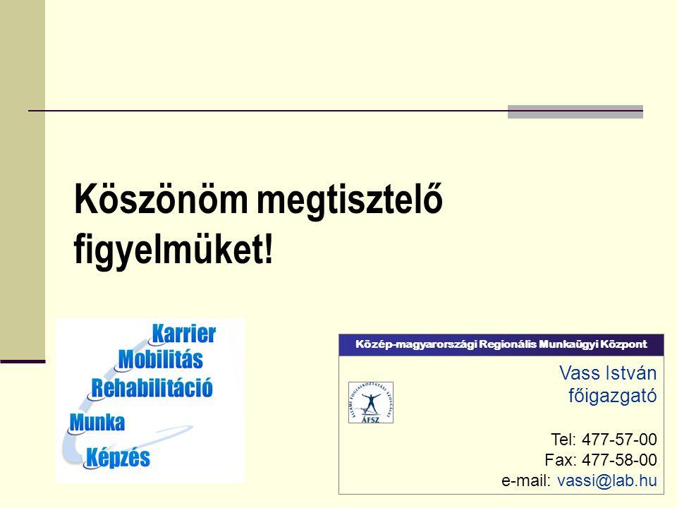 Köszönöm megtisztelő figyelmüket! Vass István főigazgató Tel: 477-57-00 Fax: 477-58-00 e-mail: vassi@lab.hu Közép-magyarországi Regionális Munkaügyi K