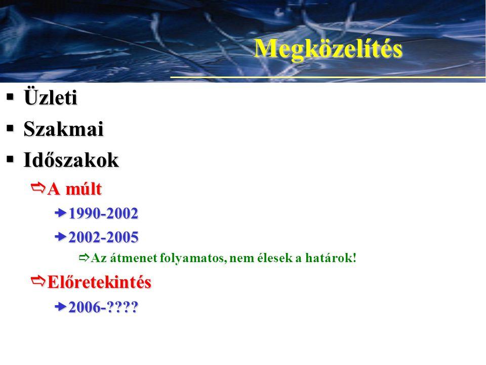 4 Megközelítés  Üzleti  Szakmai  Időszakok  A múlt –1990-2002 –2002-2005  Az átmenet folyamatos, nem élesek a határok.