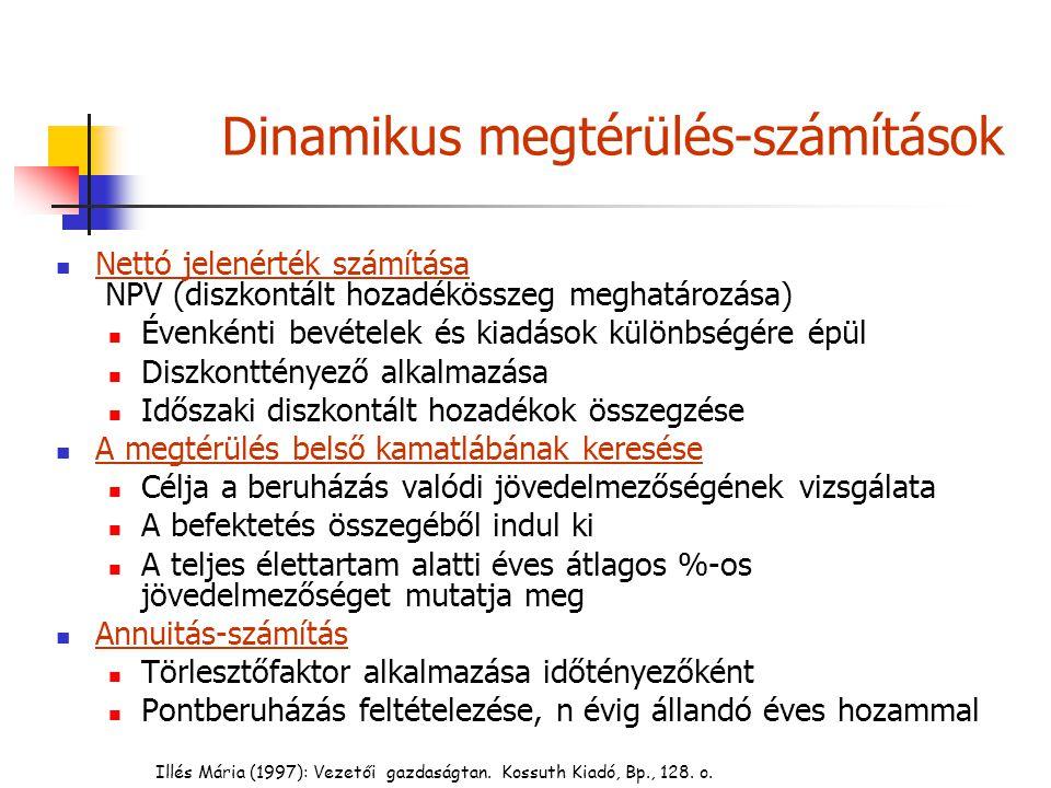 Illés Mária (1997): Vezetői gazdaságtan. Kossuth Kiadó, Bp., 128. o. Dinamikus megtérülés-számítások Nettó jelenérték számítása NPV (diszkontált hozad