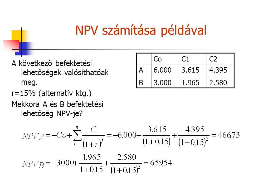 NPV számítása példával A következő befektetési lehetőségek valósíthatóak meg. r=15% (alternatív ktg.) Mekkora A és B befektetési lehetőség NPV-je? CoC