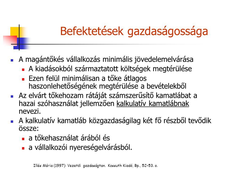 Illés Mária (1997): Vezetői gazdaságtan. Kossuth Kiadó, Bp., 52-53. o. Befektetések gazdaságossága A magántőkés vállalkozás minimális jövedelemelvárás