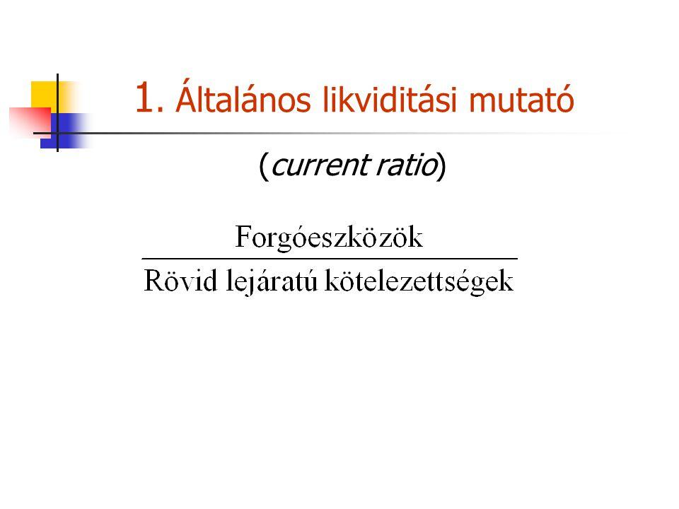1. Általános likviditási mutató (current ratio)