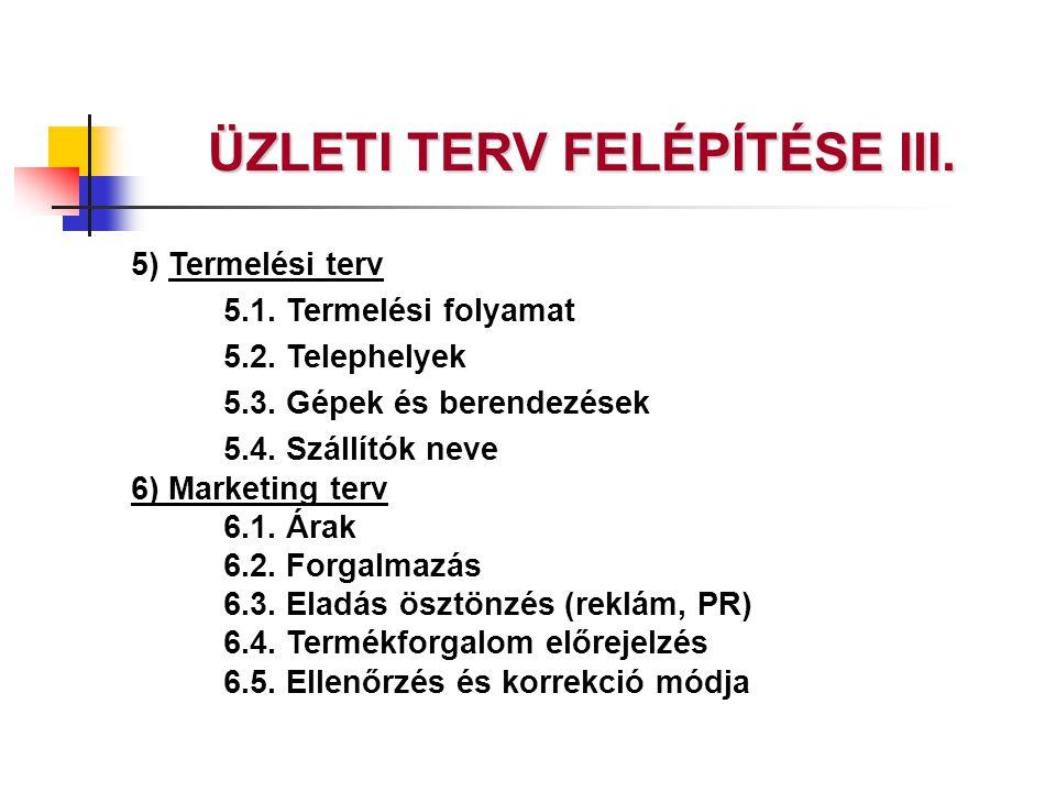 5) Termelési terv 5.1. Termelési folyamat 5.2. Telephelyek 5.3. Gépek és berendezések 5.4. Szállítók neve 6) Marketing terv 6.1. Árak 6.2. Forgalmazás