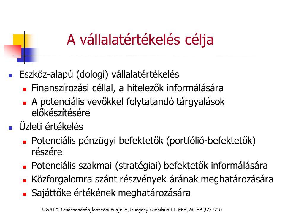 USAID Tanácsadásfejlesztési Projekt, Hungary Omnibus II. EPE, MTFP 97/7/15 A vállalatértékelés célja Eszköz-alapú (dologi) vállalatértékelés Finanszír