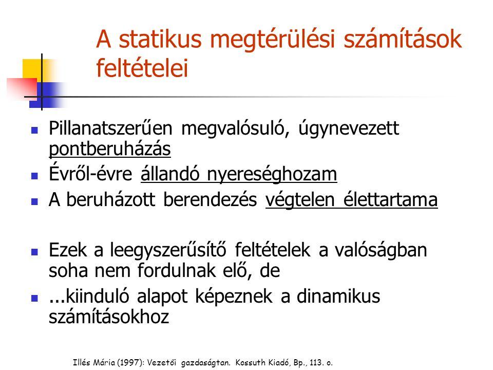 Statikus megtérülés-számítások 1.
