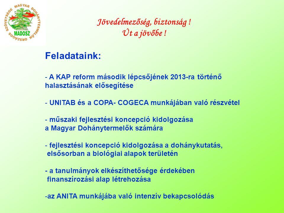 Feladataink: - A KAP reform második lépcsőjének 2013-ra történő halasztásának elősegítése - UNITAB és a COPA- COGECA munkájában való részvétel - műszaki fejlesztési koncepció kidolgozása a Magyar Dohánytermelők számára - fejlesztési koncepció kidolgozása a dohánykutatás, elsősorban a biológiai alapok területén - a tanulmányok elkészíthetősége érdekében finanszírozási alap létrehozása -az ANITA munkájába való intenzív bekapcsolódás Jövedelmezőség, biztonság .
